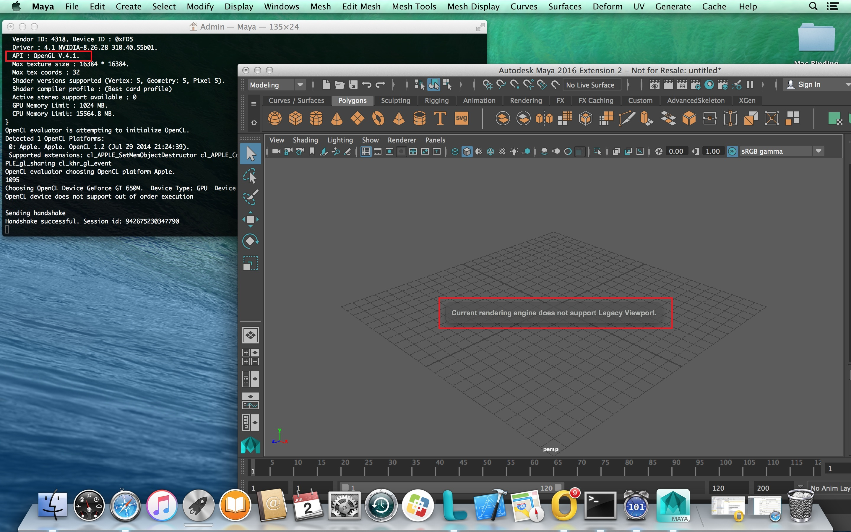 Maya 2016 5 Viewport 2 0 on OSX : How to handle the
